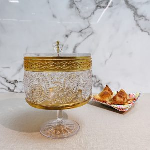 1Decorative Round Canister with Stand for Samosa