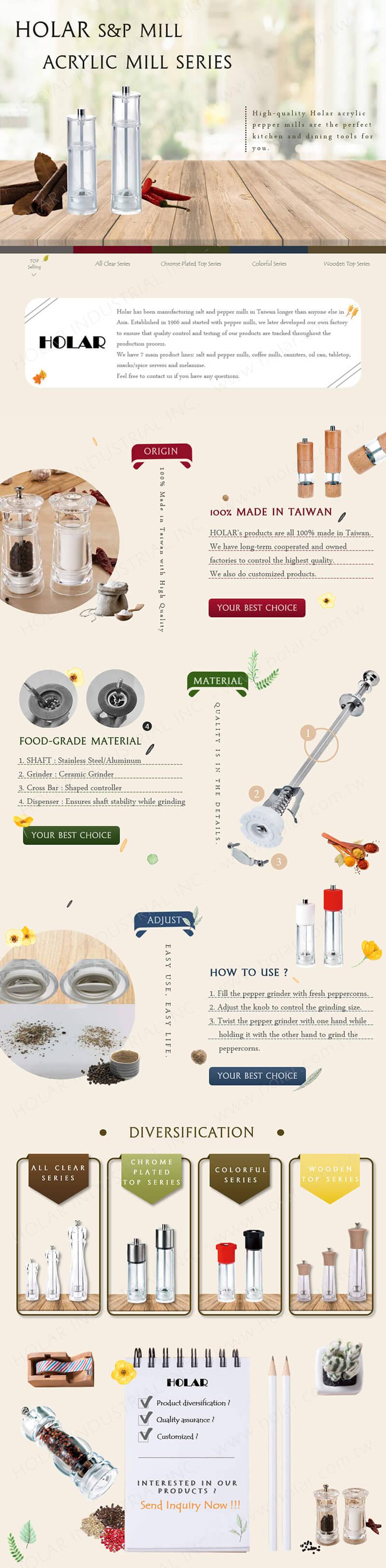 Holar - Acrylic Salt & Pepper Mill Introduction