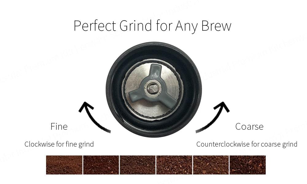 Adjust Coarseness of portable coffee grinder