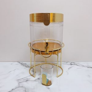 Beverage Dispenser and Cup with Gold Accents