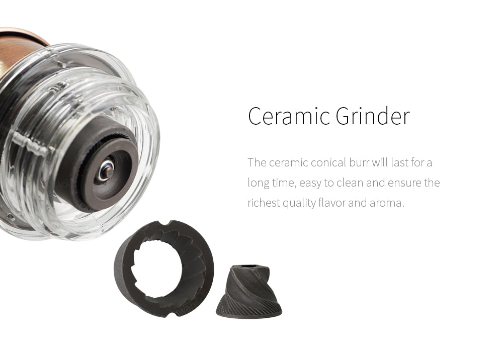 Ceramic conical burr of acrylic manual coffee grinder