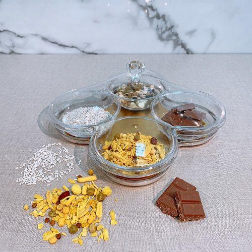 Holar Diwali Festival Chocolate Nuts India Snacks Serving Platters - 1