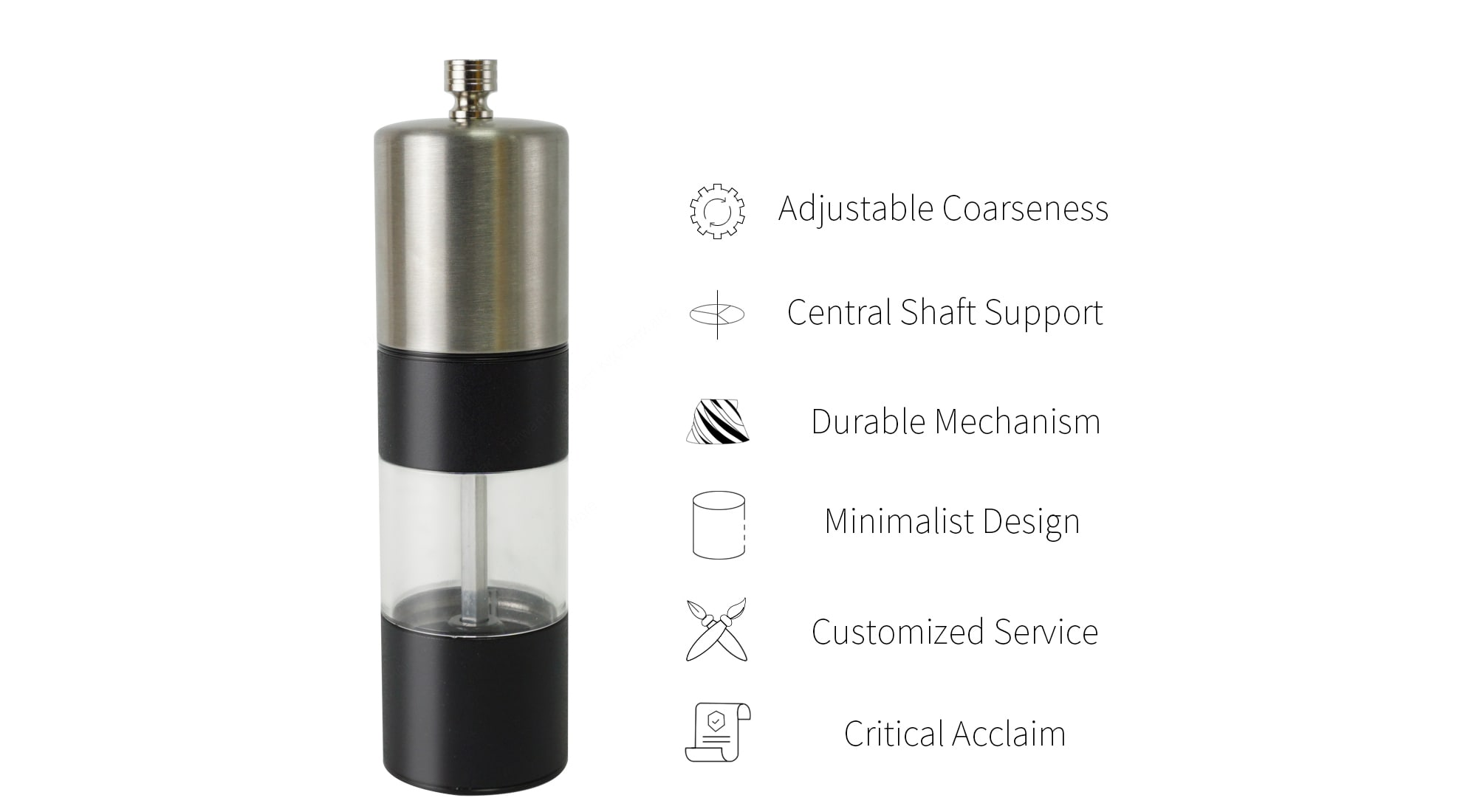 Features of stainless steel pepper grinder-SSASP
