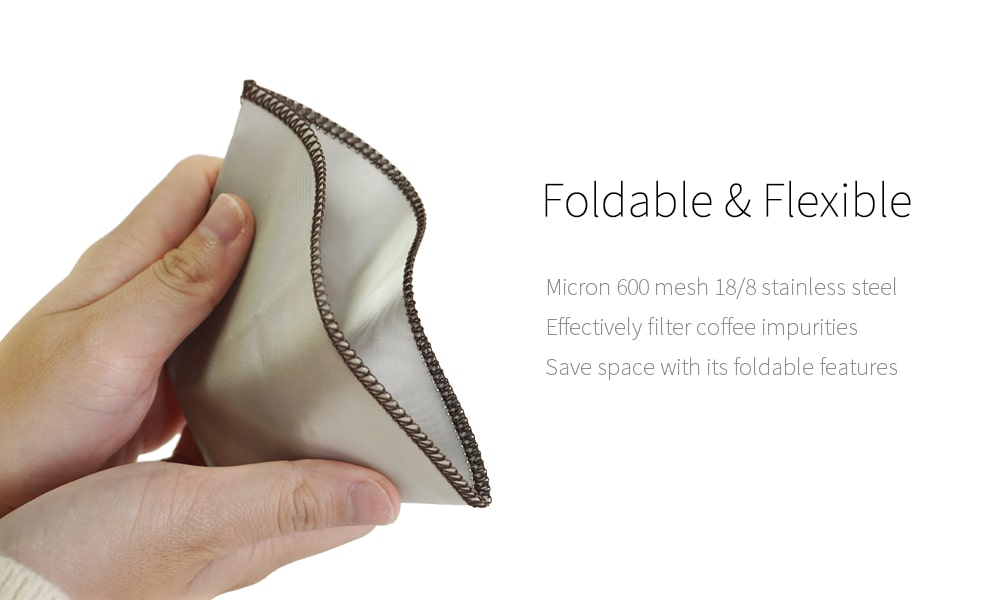 Flexible and foldable paperless coffee filter
