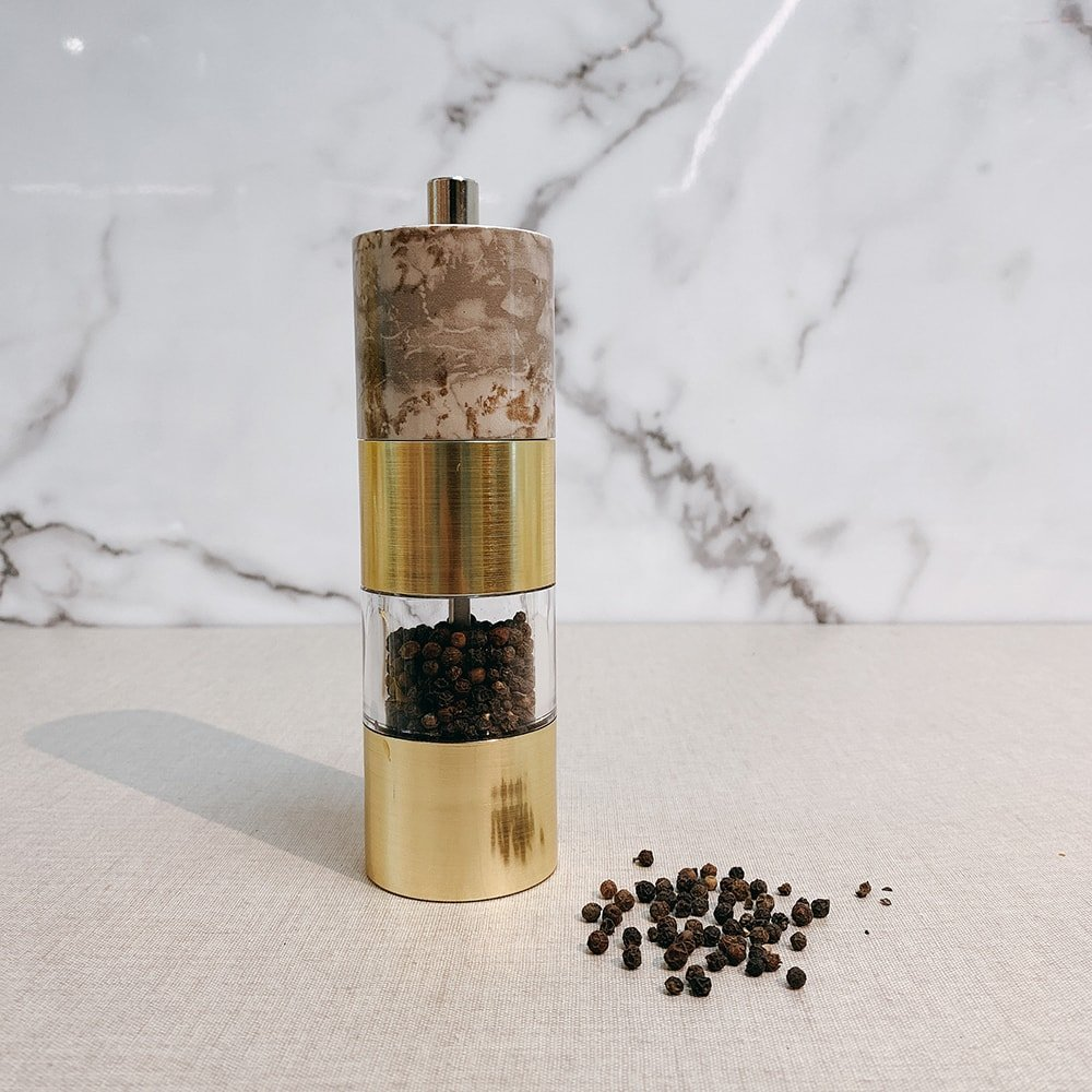 Gold Marble Salt and Pepper Mill