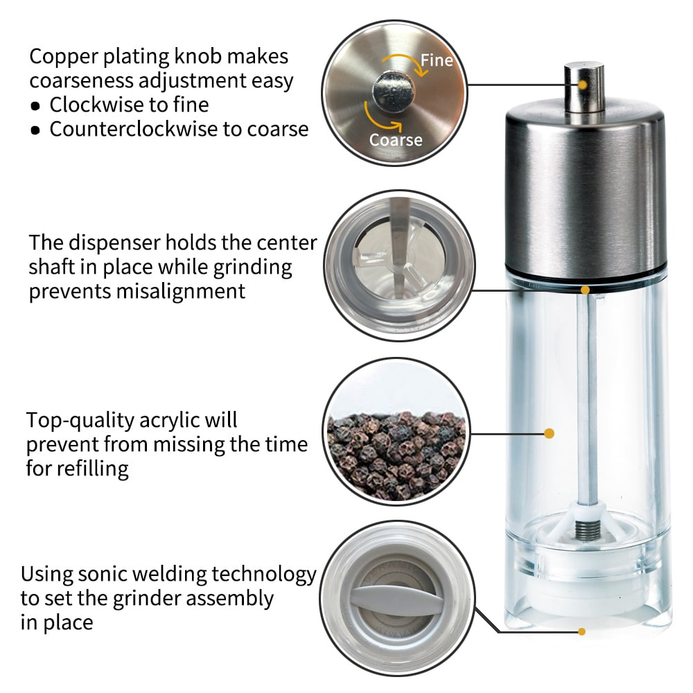 HKB-SS Stainless Steel and Acrylic Salt Pepper Grinder-introduce