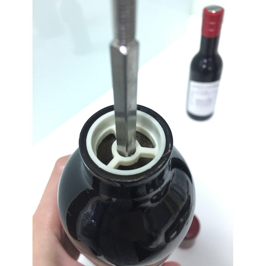 HOLAR RW Salt Pepper Mill Grinder Red Wine Bottle Wood - 3