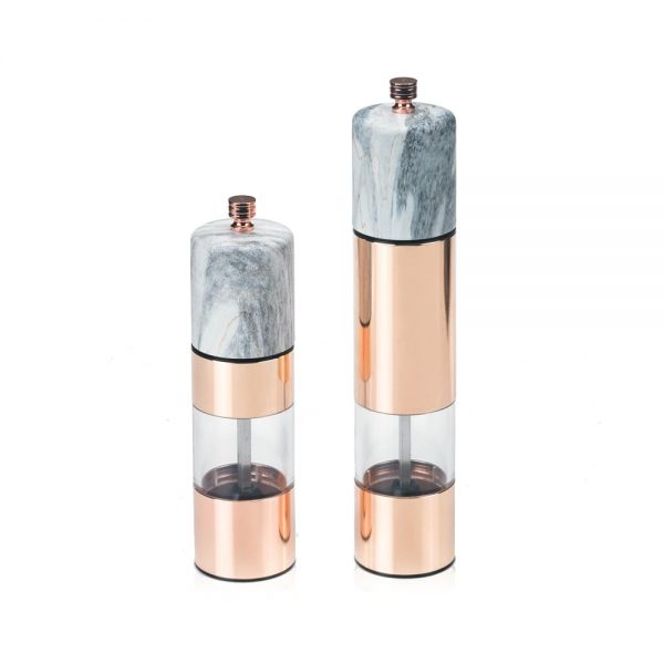 HOLAR SSAM Salt and Pepper Mill Grinder Marble Rose Gold Stainless Steel - 1