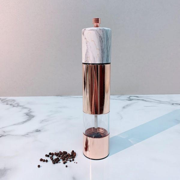 HOLAR SSAM Salt and Pepper Mill Grinder Marble Rose Gold Stainless Steel - 2