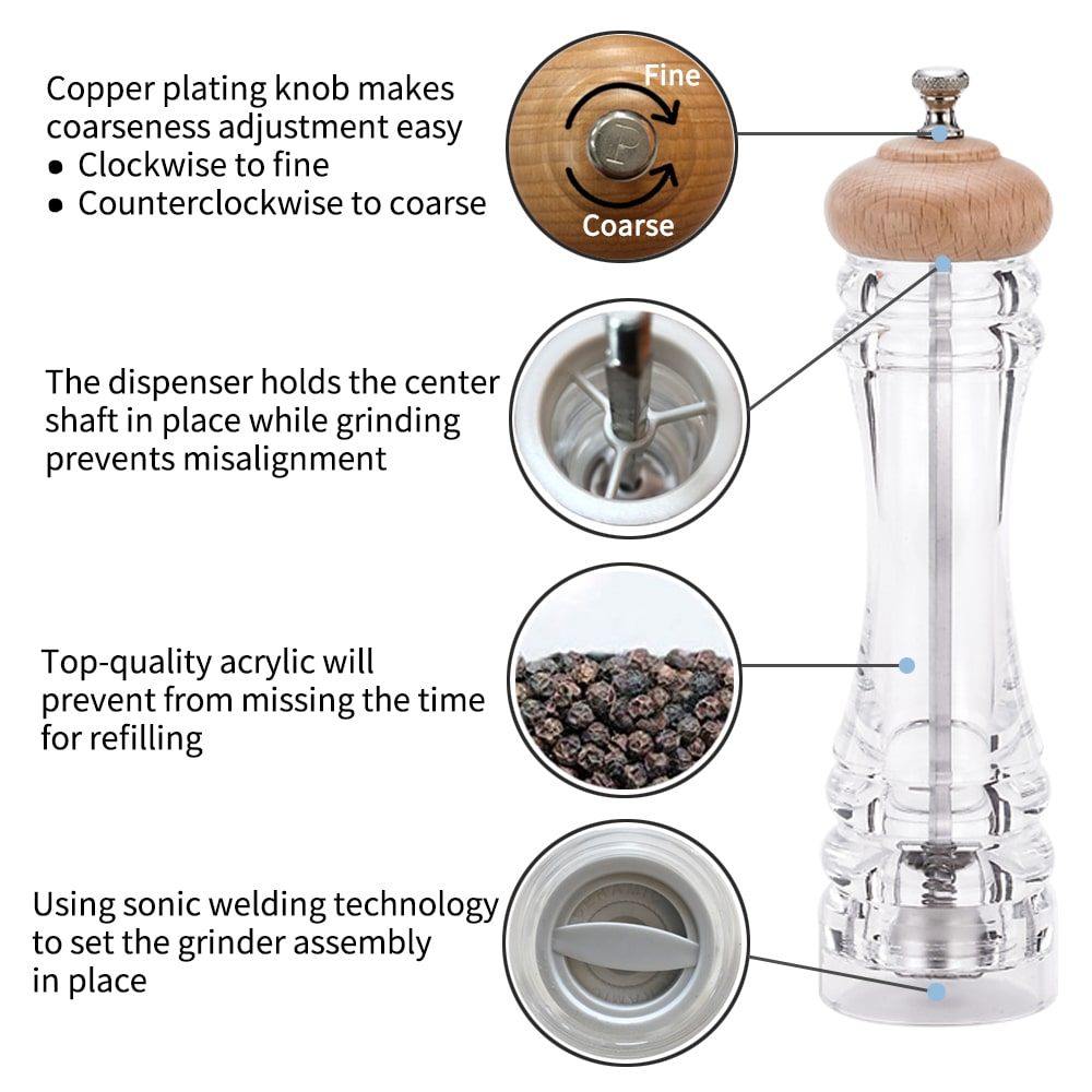 Holar AL3-BHC Acrylic Salt Pepper Mill with Wooden Top-1