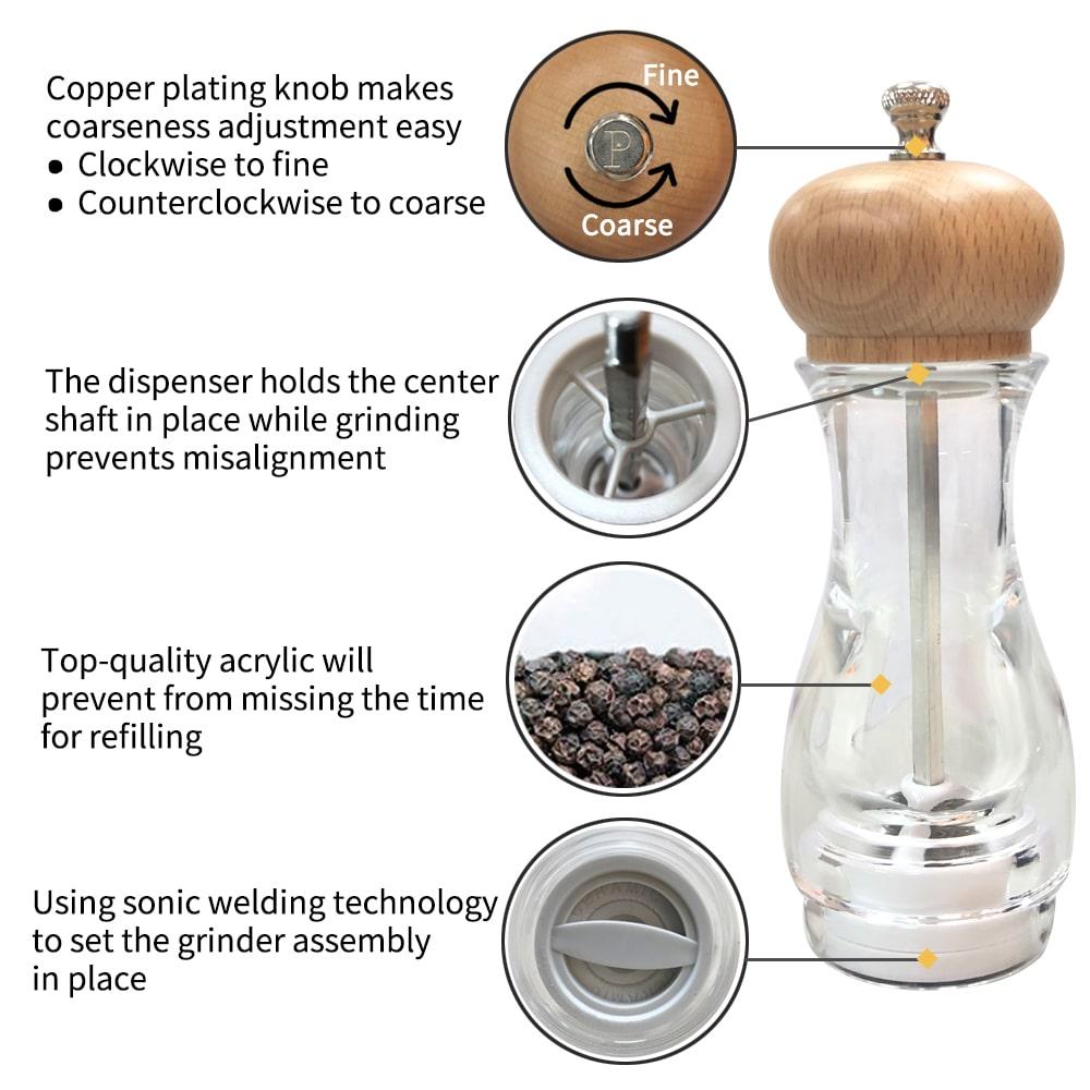 Holar BA2-BHC Acrylic Pepper Salt Grinder-1