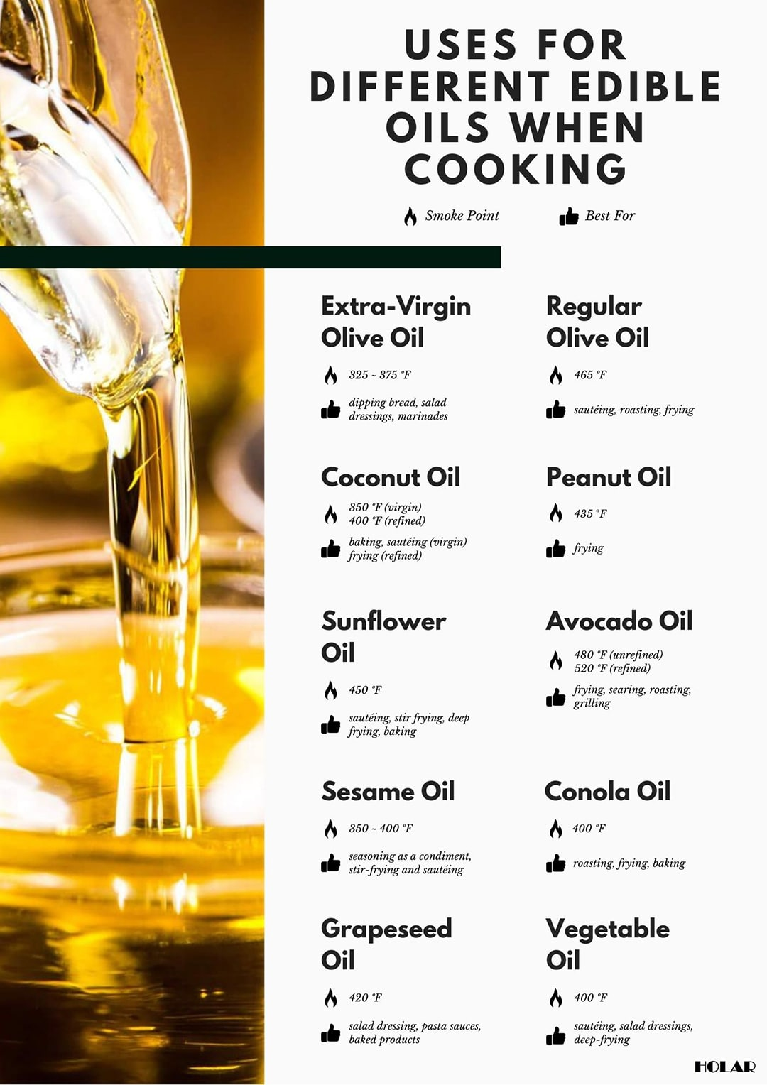 Holar - Blog Infographic - What are the uses for different edible oils when cooking