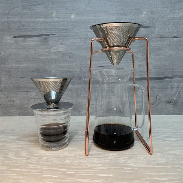 Holar - Coffee - Coffee Filter - PS-DC01-B Reusable Stainless Steel Double Coffee Dripper with Base - 4