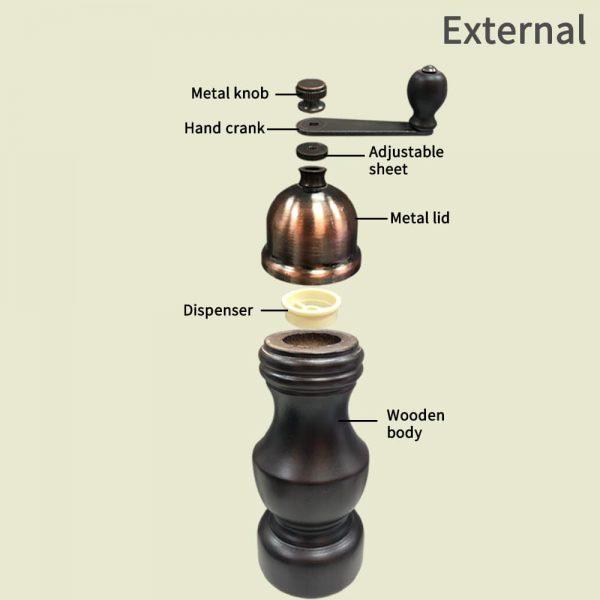 Holar HL-45 9 antique salt pepper grinder-external
