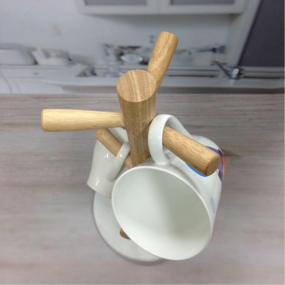 Holar MB-13 Tree Shaped Wood Coffee Mug Holder-2