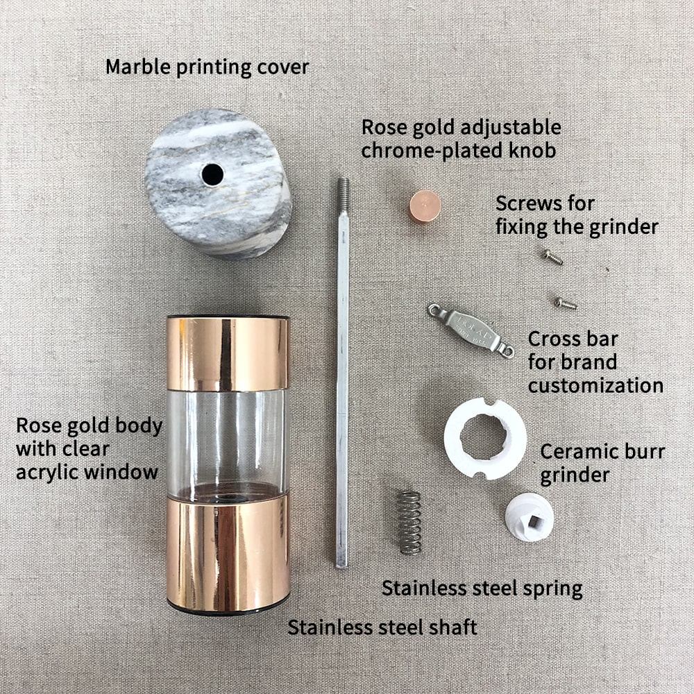 Holar SSAM-02-Pepper Mill with Marble Rose Gold Design-infographic