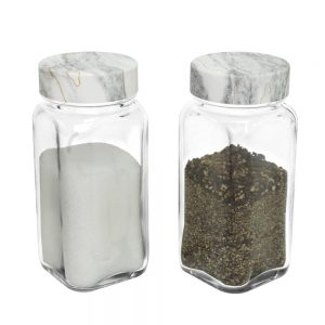 SP-06MBW Square Spice Jar – Marble White Cap
