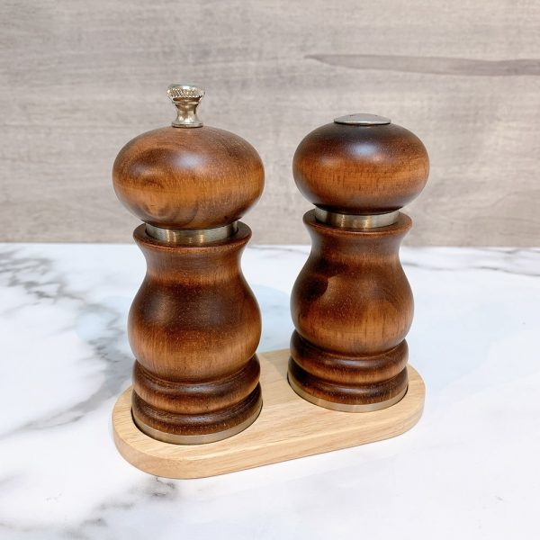 Holar - Salt and Pepper Tray Holder Stand - Light Brown Wood - 4
