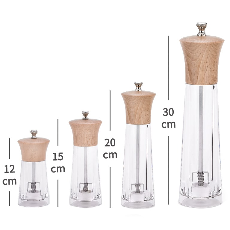 Holar WD2-BHC Acryic Salt Pepper Grinder with Wooden Top-dimension