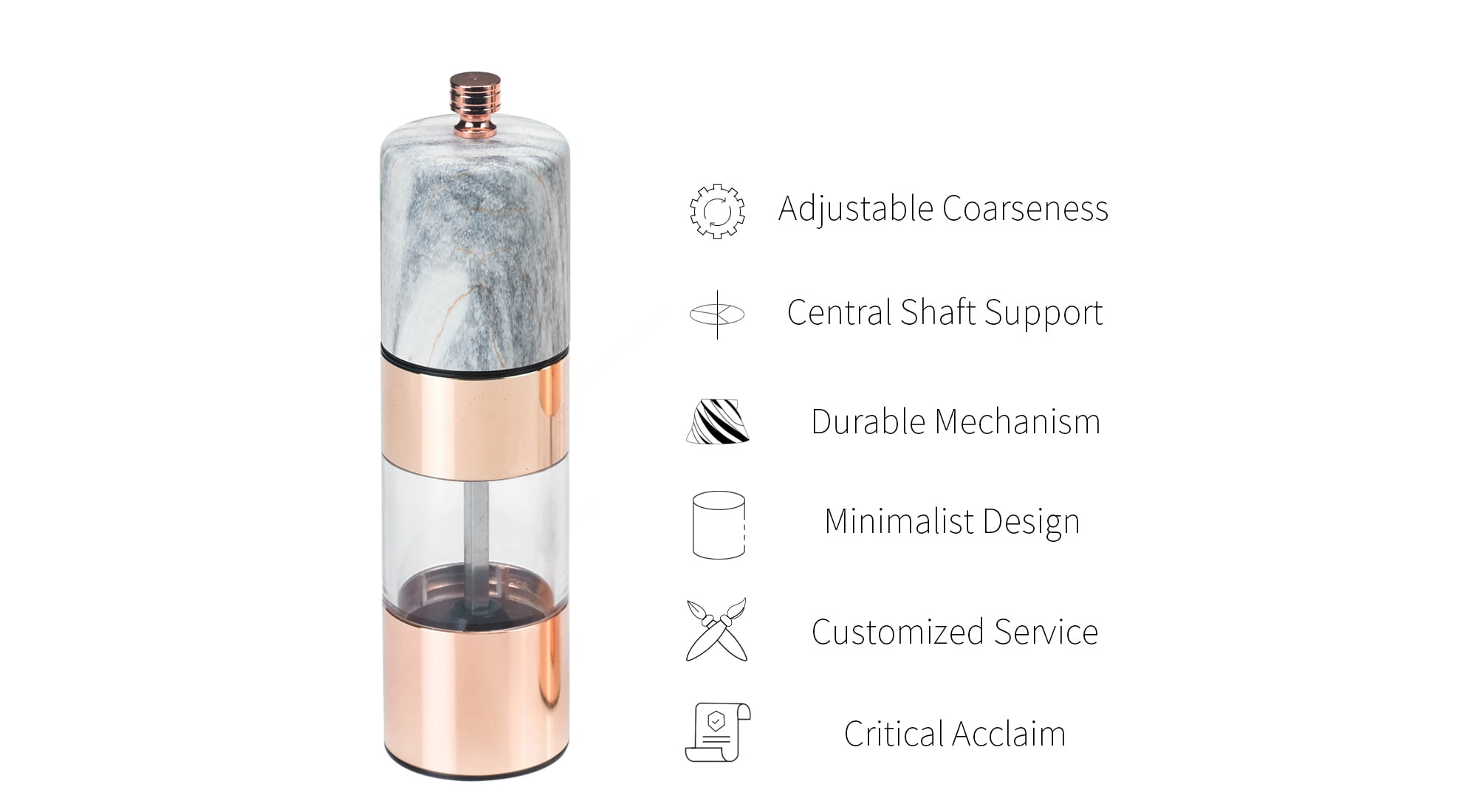 Holar rose gold and marble salt and pepper grinder Features-SSAM-02RG