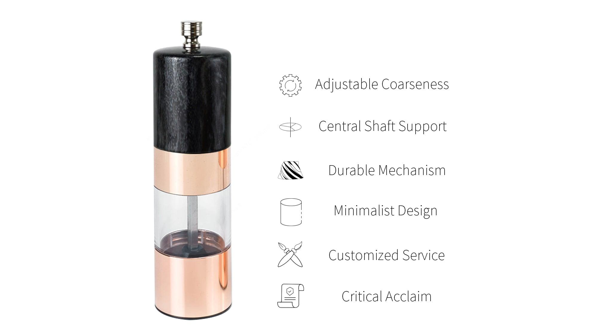 Holar rose gold salt and pepper grinder with black marble-SSAB-RG