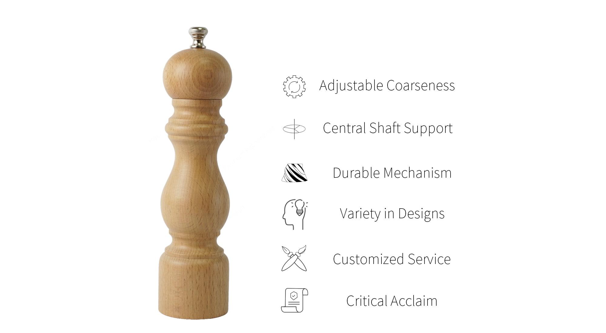 Holar solid wood salt pepper grinder features_HH
