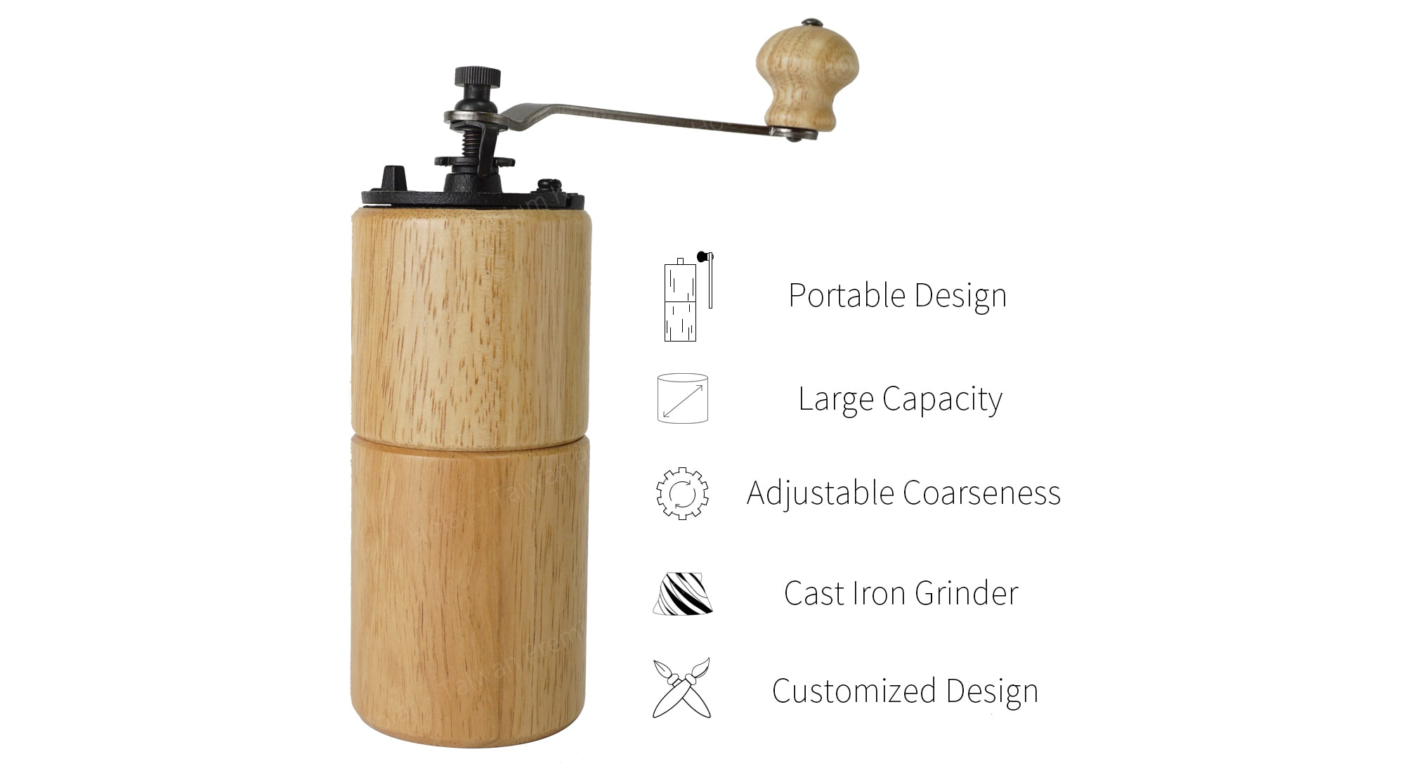 Holar wood cylinder manual coffee grinder features_CMA1819