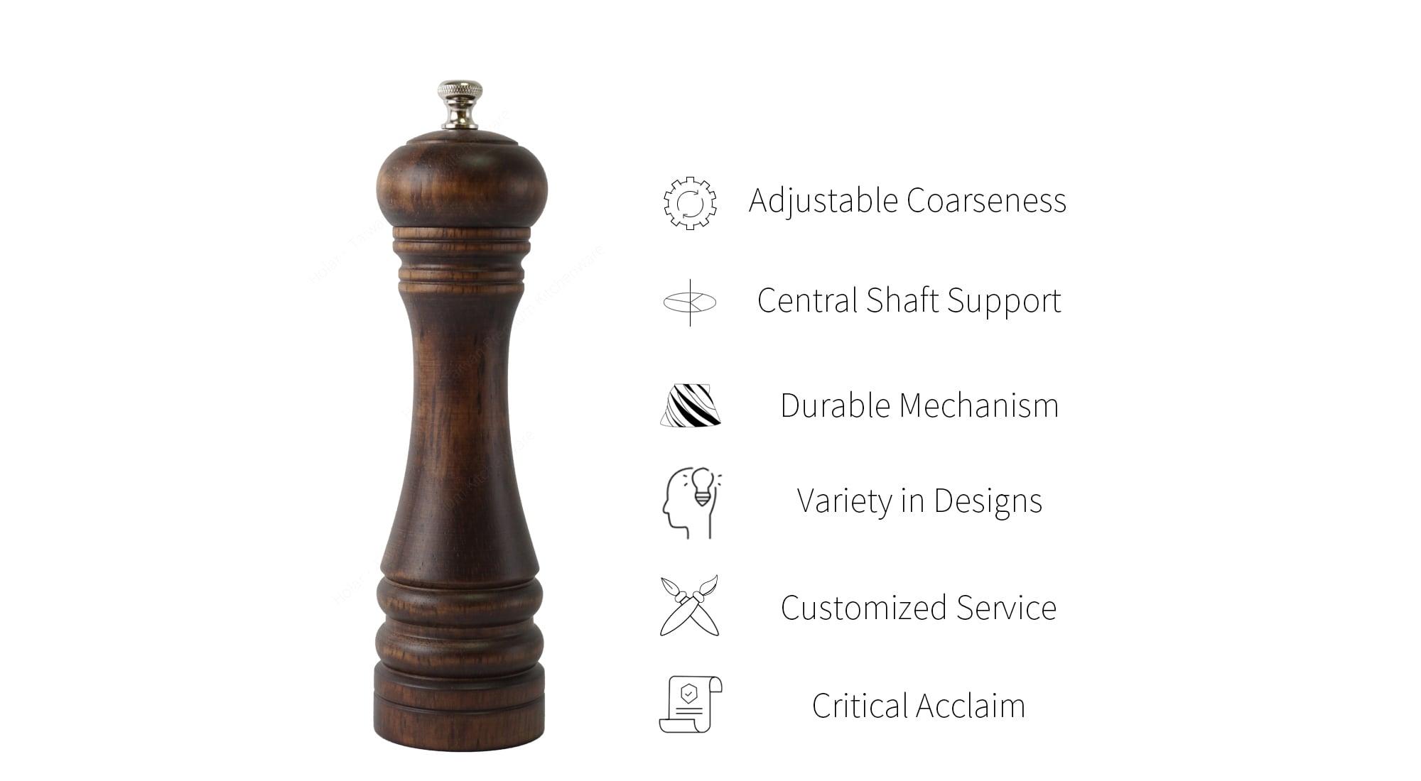 Holar wood manual salt and pepper grinder features_STD