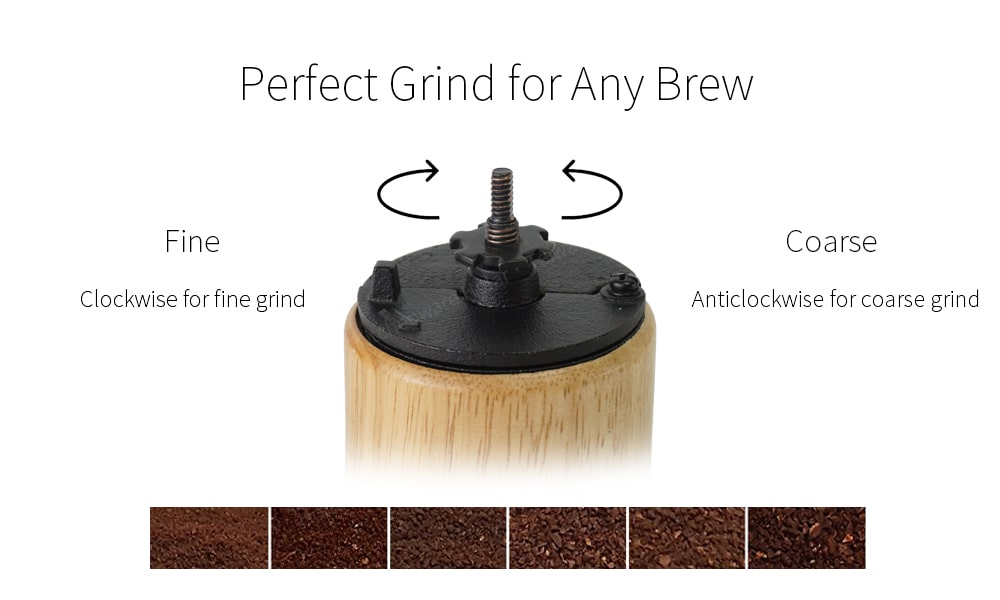 cast iron grinder of wooden coffee mill