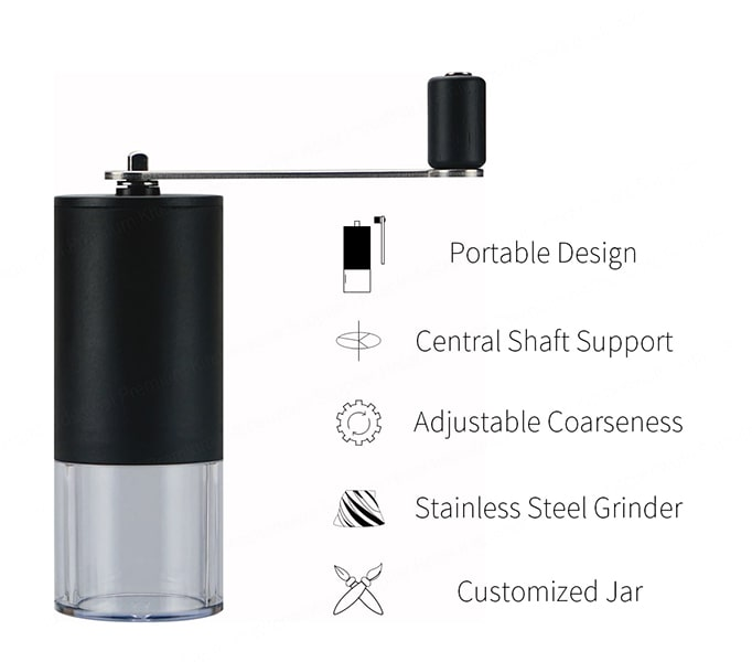 Portable Coffee Grinder with acrylic jar-feature