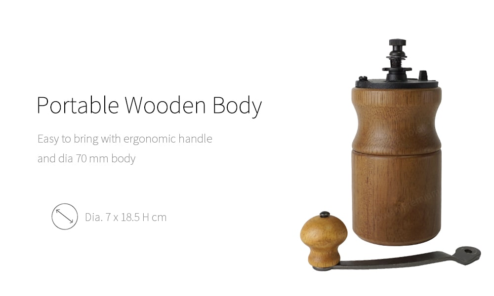 Portable wood body of hand coffee grinder_CMA19B