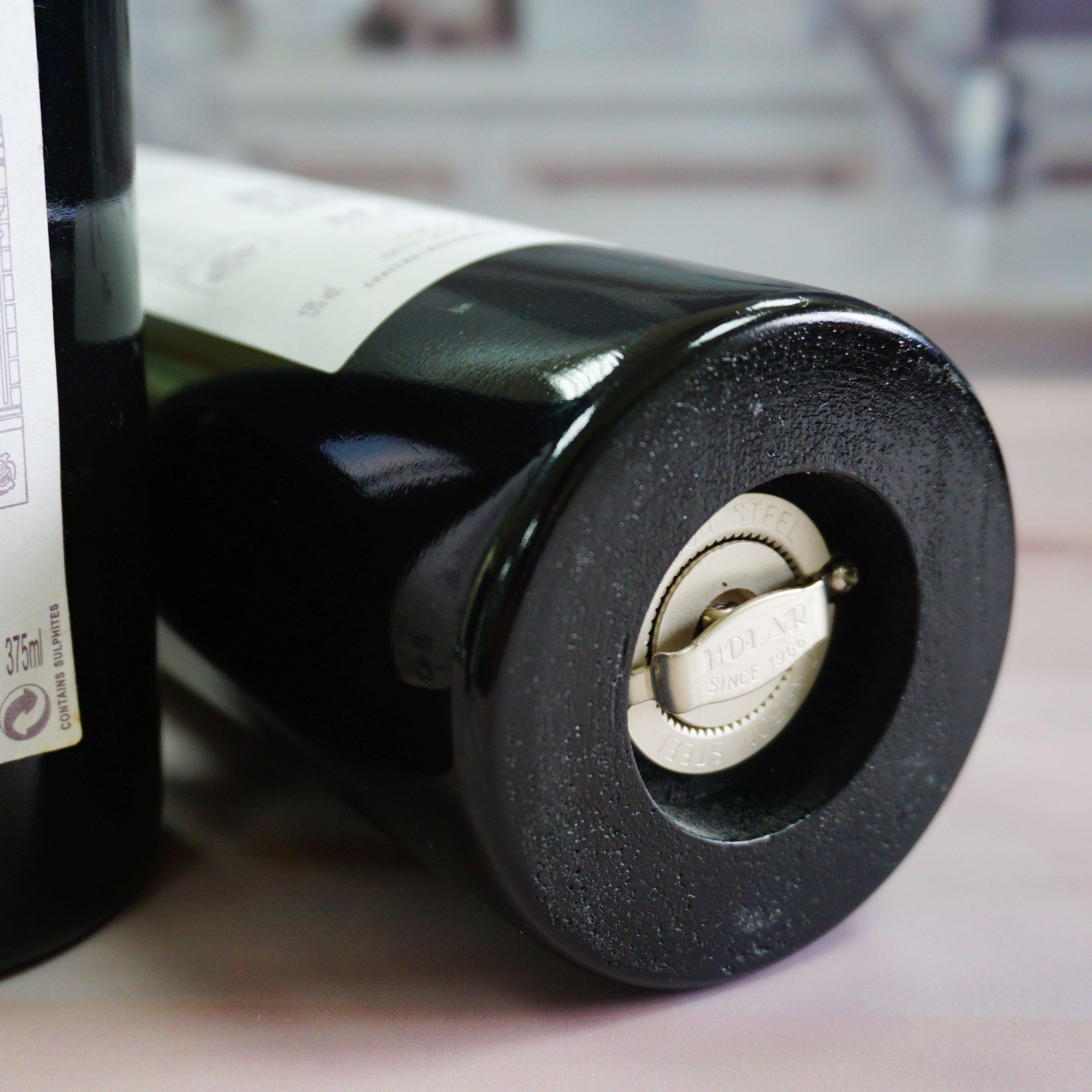 RW-Wine Bottle Shaped Wood Pepper Grinder-4