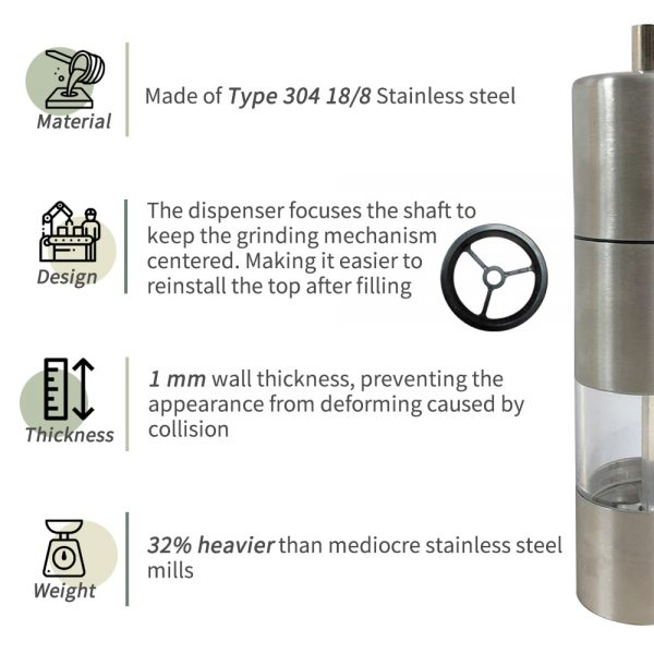 Stainless steel and acrylic pepper mill-features