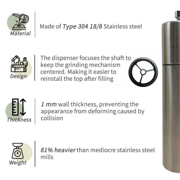 Stainless steel pepper grinder-features