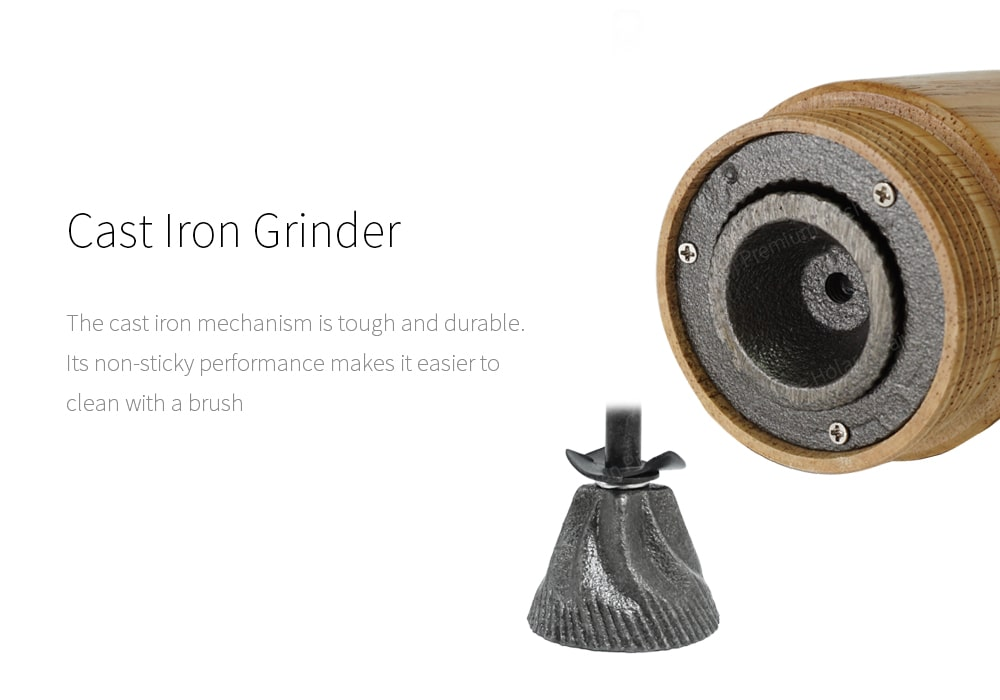 cast iron burr mechanism of wooden coffee grinder