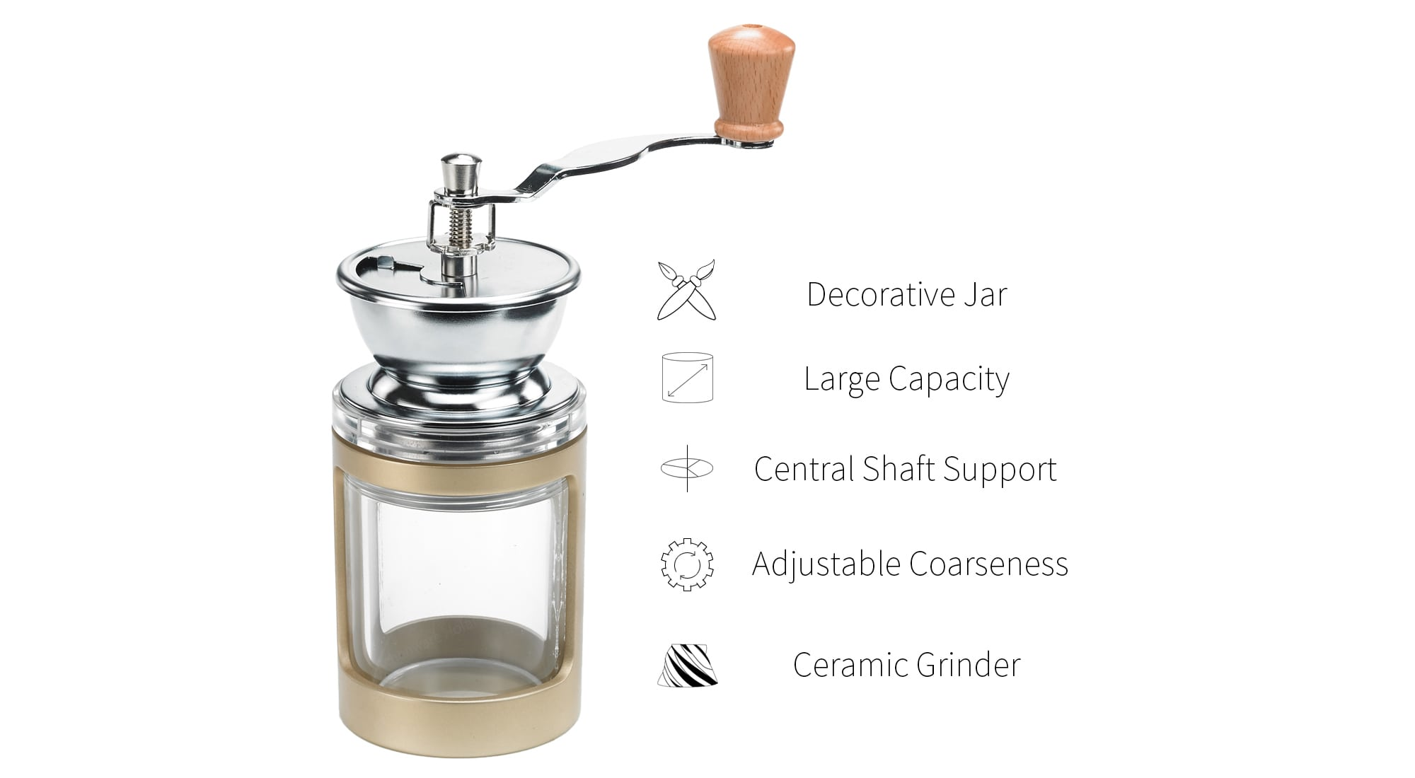 feature of best coffee mills with handle -DY03GD-B