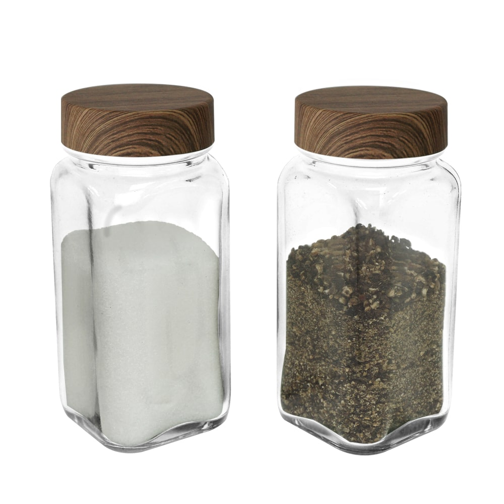 glass seasoning spice shaker set with wood grain lid