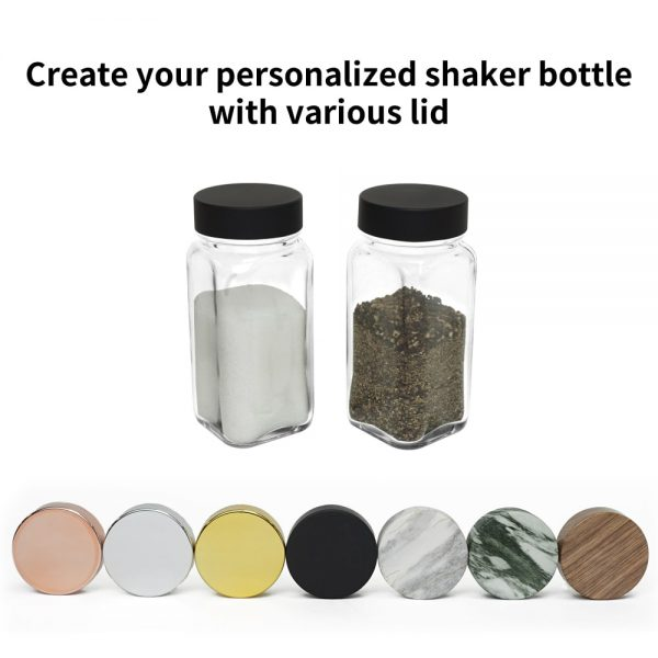 salt pepper spice shaker jar with customized caps